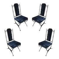 Mid Century Dining Chair with Scrolling Pattern, Set of Four