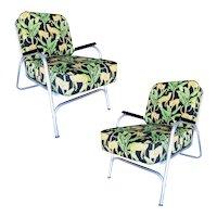 Mid Century Aluminum Patio/Outdoor Lounge Chair, Pair