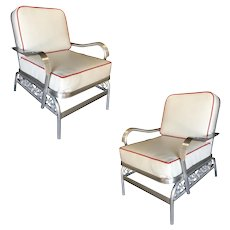 Aluminum Patio/Outdoor Lounge Pair Chair w/ Scrolling Side, Pair