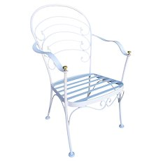 """Woodard """"Ribcage"""" Patio/Outdoor Lounge Chair w/ Brass Accent, Set of Two"""