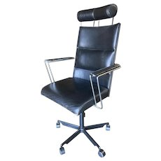 1980's Danish Modern Black and Chrome Executive Desk Chair By Kevi