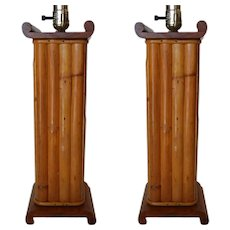 Pair Of Restored Paul Frankl Demi Inspired  Rattan And Mahogany Table Lamp, Pair