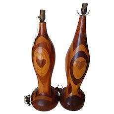 Pair Of Studio Craft Inlaid Marquetry Heart Pattern Wood Table Lamps