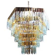 1970's Modernist Hanging Crystal Brass Chandelier