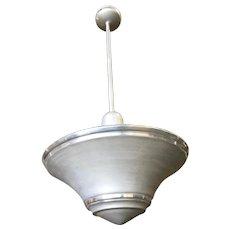 Spun Aluminium Art Deco Saucer Ceiling Pendant Lamp