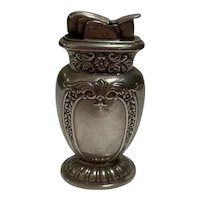 """Silver Etched """"Evans Fuel"""" Table Lighter, Circa 1950"""