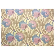 Vintage 1970's Polished Cotton Fabric with Tropical Flamingo design, 9 yards total
