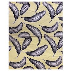 Vintage Mid Century Yellow Barkcloth with Feather Print