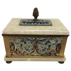 Antique French Bronze Cliosonne and Alabaster Keepsake Box