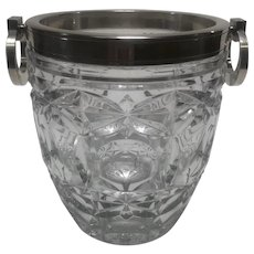 1950's Cut Crystal Ice Bucket by E.L.