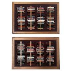 Framed Vintage Golf Pencil Collection Display (Set of 2)