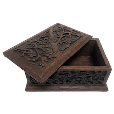 Orantely Hand Carved Rosewood Jewelry/Keepsake Box