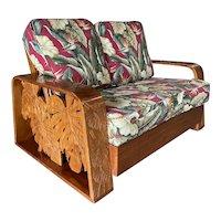 Post War Carved Mango Wood Tropical Mid Century Loveseat Sofa
