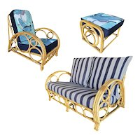 "Restored Three Strand ""Circles and Speed"" Rattan Livingroom set"