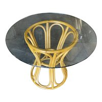 """Restored Rattan """"Hour Glass"""" Dining Table with 36"""" Round Glass Top"""