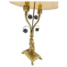 Hollywood Regency Brass Scrolling Griffin Table Lamp w/ Original Lamp Shade
