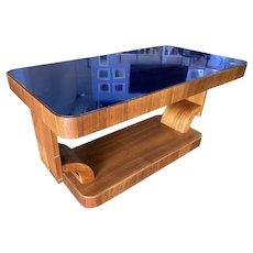 Rare Streamline Art Deco Mahogany Coffee Table w/ Cobalt Glass Top