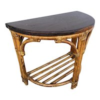 Restored Half Round Rattan Side Table with Mahogany Top
