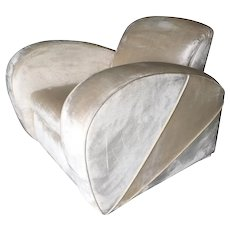 Art Deco Style Pearl White Mohair Jazz Club Chair w/ Speed Arms