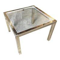 Milo Baughman Style Brass Glass Top Side Table