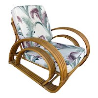 Restored Double D Loop Half Moon Rattan Four-Strand Lounge Chair