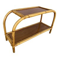 """Restored Single Strand Two-Tier """"Arch"""" Rattan Side Table"""