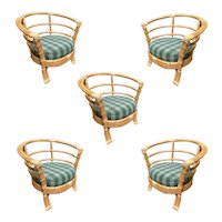 Restored Mid-Century Rattan Barrel Shaped Armchair with Skeleton Arms, Set of Five