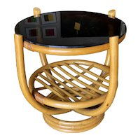 Restored Four-Pole Rattan Stacked Base Coffee Table with Floating Smoked Glass Top