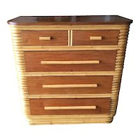 Restored Stacked Rattan Highboy Dresser with Mahogany Top