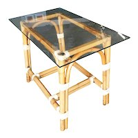 """Restored """"Swoop Arch"""" Rattan Side Table with Glass Top"""
