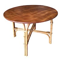 """Restored Large 31"""" Round """"X"""" Base Rattan Coffee Table with Oak Top"""