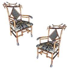 Rare 19th Century Aesthetic Movement Bamboo Salon Chair, Pair
