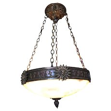 """Bronze Federal Style """"Liberty"""" Albaster Dome Chandelier"""