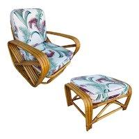 Restored Four-Strand Square Pretzel Rattan Lounge Chair w/ Ottoman