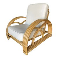 """Restored Deluxe Criss Cross Four-Strand """"Half Moon"""" Rattan Four-Strand Lounge Chair"""