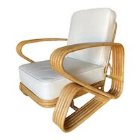 Restored Rare Five-Strand 'Double Triangle' Lounge Chair with Floating Seat