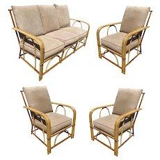 "Rare ""1949er"" Rattan Sofa Livingroom Set w/ 3 Lounge Chairs by Heywood Wakefield"