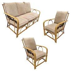 "Rare ""1949er"" Rattan Sofa Livingroom Set w/ 2 Lounge Chairs by Heywood Wakefield"