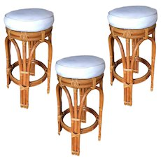 Restored Single Stand Arched Double Stacked Rattan Bar Stool, set of 3