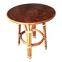 """Restored Rattan """"Double Circle"""" Side Table with Mahogany Top"""