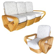 Restored Paul Frankl Six-Strand Rattan Sofa and Lounge Chair Set