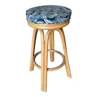 Restored Single Stand Arched Rattan Bar Stool