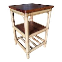 Restored Rattan Square Side Table with Acacia Koa Wood Top