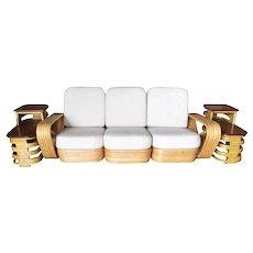 "Rare Paul Frankl Style Square Pretzel ""S"" Arm Rattan Sofa w/ 2 Tier Table"