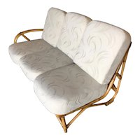 Restored 3/4 Round Pretzel Rattan 3 Seater Sofa with Two Tier Table