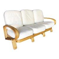 "Restored ""R"" Arm 3 Seat Sofa with Quad Pole Rattan Design"