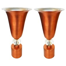 Copper Mid-Century Torchière Table Lamps, Pair