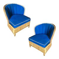 Rare Art Deco Shell Back Stick Rattan Lounge Chair