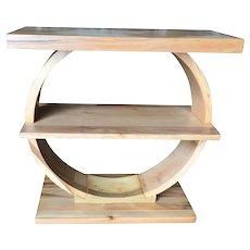 "Art Deco Geometreic ""Ring"" Brown Saltman Maple Side Table"