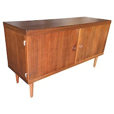 Danish Modern Credenza Cabinet w/ Fancy Hinges and Sculpted Pig Nose Pulls